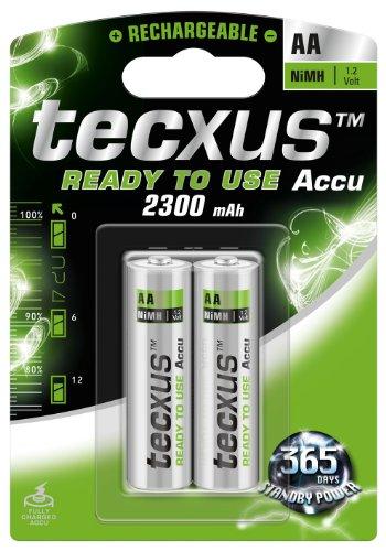 Tecxus 23819 Hybrides nickel-métal (NiMH) 2300mAh 1.2V batterie rechargeable - Batteries rechargeables (2300 mAh, Hybrides nickel-métal (NiMH), AA, 1,2 V, Argent, 2 pièce(s))