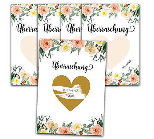 Happy Wedding Art Rubbellkarte Überraschung x 5 Karten Rubbellos Karte A6 DIN Gutschein Schwanger Sein, du wirst Papa, Oma, Opa Überraschungskarte