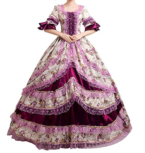 Nuoqi damen ®Damen Satin Gothic Victorian Prinzessin Kleid Halloween Cosplay Kostüm (34, CC2377A)