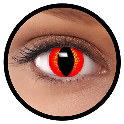 Farbige Kontaktlinsen rot Drache + Behälter, weich, ohne Stärke in rot als 2er Pack (1 Paar)- angenehm zu tragen und perfekt für Halloween, Karneval, Fasching oder Fastnacht Kostüm