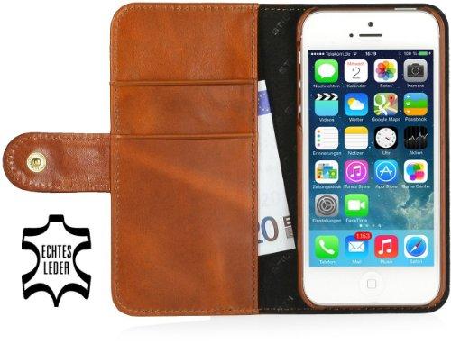 StilGut Leder-Hülle kompatibel mit iPhone 5/5s/iPhone SE Brieftasche mit Karten-Fächer & Druckknopf, Cognac
