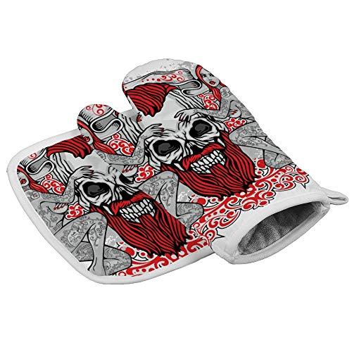 Bearget gotische teken met schedels en meisjes vintage oven wanten en pannenlappen hittebestendige oven Mitt anti-slip handschoenen voor koken bakken grill