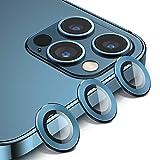 BANNIO Pellicola Vetro Temperato Compatibile con Lente Fotocamera di iPhone 12 PRO Max,3 in 1 Ultra HD Protezione Fotocamera in Anello Metallica,Anti Graffio Protettore Fotocamera,Blu Pacifico