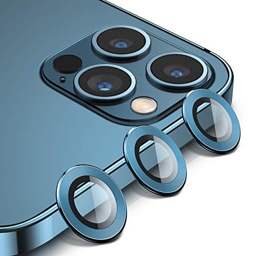 BANNIO Pro Maxtector Cámara Compatible con iPhone 12 Pro Max,3 en 1 HD Film Vidrio Cristal Templado Cámara Trasera Lente Borde de Metálico Compatible con iPhone 12 Pro Max,Oro