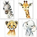 artpin® Set de 4 Affiches décoration pour Chambre d'enfant- posters de bébé garçon ou Fille - Animaux de safari dans la jungle - décoration Murale DIN A4 - image Girafe éléphant zèbre tigre P35