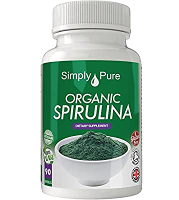Organic Spirulina 90x Capsules, 100% Natural Soil Association Certified, High Strength 500mg, Detox, Immune Boost, Nutritional Health, Gluten Free, Vegan, Exclusive to Amazon, Simply Pure, Moneyback Guarantee by Simply Pure Ltd