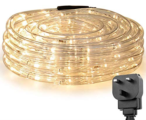 Lepro Outdoor Rope Lights Mains Powered, Linkable, Low Voltage, 10M 240 LED Outside String Lights Plug in, Bright Warm White, Waterproof for Garden, Caravan, Camping Tent, Gazebo, Tree and More