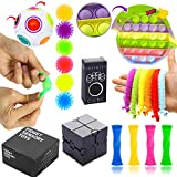 Sensory Fidget Toy Set, 19 Pcs,Push Pop Bubble for Kids and Adults Anxiety Stress Relief Tools, Infinity Fidget Cube, Marble Mesh Fidget Toy, Magic Puzzle Stress Ball for Autism, ADHD