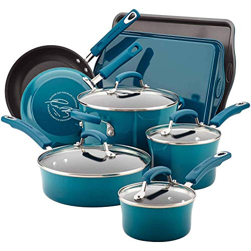 Rachael Ray 12-Piece Classic Brights Nonstick Pots and Pans Set/Cookware Set, Marine Blue