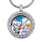 RUBYCA Collier avec médaillon flottant rond, pierre de naissance en cristal et charmes sur le thème mémoire vivante - Argenté - À faire soi-même