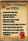 Die 7 Wunder der DDR Ostalgie 20 x 30 cm Witziger Spruch Deko Blechschild 396