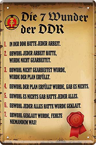"""Blechschilder Lustiger Spruch: """"Die 7 W&er der DDR"""" Deko Vintage Deutsch Flagge Wappen Türschild Metallschild Schild Witziges Geschenk zum Geburtstag oder Weihnachten 20x30 cm"""