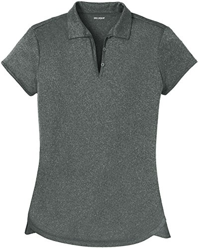 Joe's USA DRI-Equip(tm) Ladies Heathered Moisture Wicking Golf Polo-Charcoal-XL
