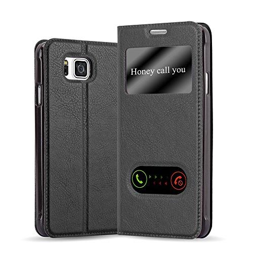 Cadorabo Funda Libro para Samsung Galaxy Alpha en Negro Cometa - Cubierta Proteccíon con Cierre Magnético, Función de Suporte y 2 Ventanas- Etui Case Cover Carcasa