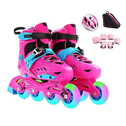 Patines de rodillos Patines en línea ajustables al aire libre para niños y adultos, patines de rodillos para niños para niños y niñas con ruedas de luz, patines de hockey para niños al aire libre para