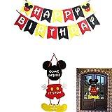 INTVN Decoraciones de cumpleaños de Mickey Mouse, Banner de Happy Birthday, Guirnalda y Colgador de Bienvenida para Baby Shower Fiesta de cumpleaños, decoración