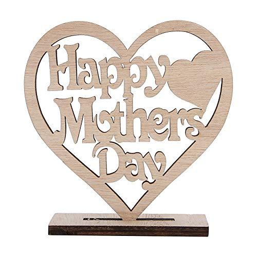 Adorno de madera en forma de corazón hueco de madera contrachapada artesanal decoración de regalo para cumpleaños, día de la madre, día feliz de la mamá