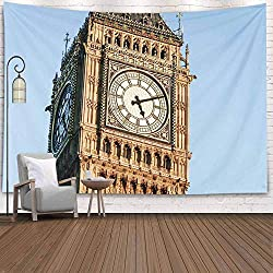 Crannel Wall Tapestry, Night Shot Close Detail Face Iconic London Landmark Clock Tapestry 80X60 Inches Wall Thanksgiving Fall Tapestries Christmas Hanging for Dorm Room Living Home Decorative
