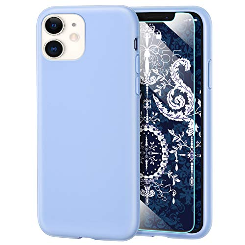 MILPROX iPhone 11 Case with Screen Protector, Liquid Silicone Gel Rubber Shockproof Slim Shell with Soft Microfiber Cloth Lining Cushion Cover for iPhone 11 6.1 inch (2019)-Blue