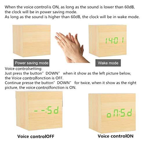 Xagoo Sveglia Digitale Legno Cube LED Digitale Orologio da Tavolo, Sveglia Digitale da Comodino con Orario Tempo Data e Temperatura Display, Sensore del Suono per l'attivazione (Bamboo Green)