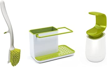 Joseph Joseph Kitchen Sink Set with Caddy, Edge Dish Brush and C-Pump, White/Green (10448)