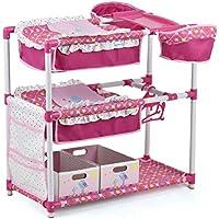 Hauck Toys - Cuna Cambiador 5 en1 para Muñecas y Peluches, Litera y Trona doble, Barra de Ropa con 2 Perchas, 2 Cajas de Almacenamiento de Juguetes - Birdie Pink