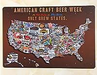 American Craft Beer Week ビール  世界のビール  お酒  メタルサイン  金属 TIN SIGN お部屋 お店 壁飾り 個性 インテリア アメリカ雑貨 アメリカンブリキ看板 レトロ調  20x30cm eiwasailsors