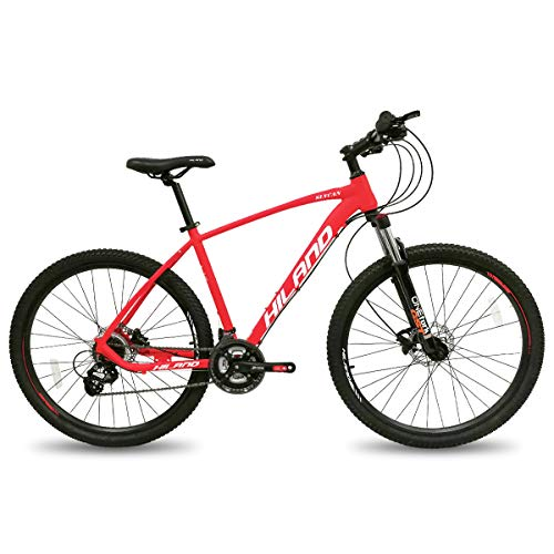 Hiland 27.5 Inch Mountain Bike Aluminum Hydraulic Disc-Brake MTB Bicycle for Men with 19 Inch Lock-Out Suspension Fork Urban Commuter City Bicycle Red