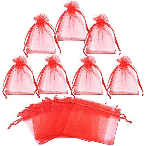 Gudotra 50pz Sacchetti Rosso Bustina Organza Portaconfetti per Matrimonio Battesimo Regalo Caramelle Confetti Gioielli(7cm*9cm)