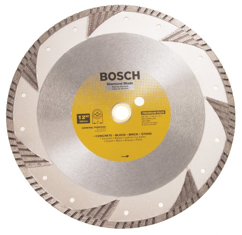 Bosch DB1263 Premium Plus 12-Inch Dry or Wet Cutting Turbo Continuous Rim Diamond Saw Blade with 1-Inch Arbor for Masonry