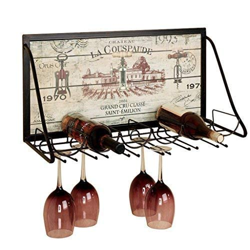 Porte Vin Casier À Vin en Métal De Fer |Porte Gobelet Accrocher des Accessoires De Bar Porte-Porte du Vin Étagère for Les Restaurants, Les Bars (65x26x40cm)
