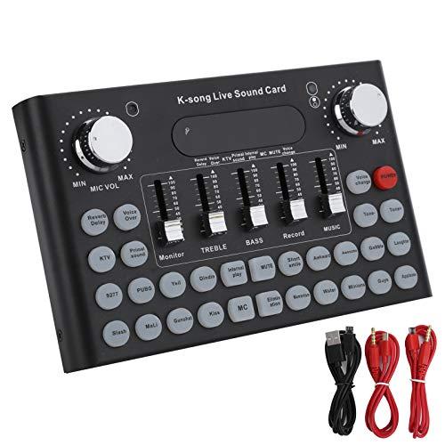 Tuning Sound Card con USB para Grabar Youtube Facebook Live, Voice Changer para Sound Effects Board, V8 Live Sound Card para PS4 / Xbox/Phone/iPad/Computer