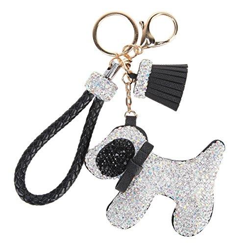 Bonjanvye Hübscher Schlüsselanhänger mit Hundemotiv, Handtaschen-Zubehör für Auto Gr. Small, weiß