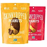 SKINNYDIPPED Peanuts Variety Pack, Milk Chocolate Covered Peanuts and Peanut Butter & Jelly Peanuts, 3.5 Ounce Resealable Bag, 5 Count