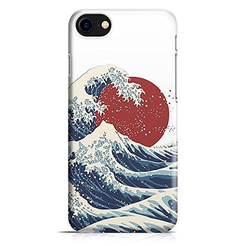 ItalianCaseDesign Carcasa Funda Protectora para iPhone 7-8 - 7 Plus - 8 Plus (Selecciona el Modelo) Japón Pintar la Onda del mar Rojo Ilustración de la Luna