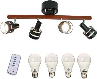 TAKUMI LIGHT LED シーリングライト 4灯 天井照明 照明器具 スポットライト 8畳 おしゃれ 北欧 天然木 リビング ダイニング照明 リモコン付き (ブラック, 60W形LED電球付き)