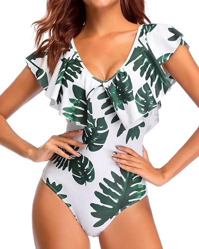 Tempt Me Women White Leaves Flounce One Piece Swimsuit Ruffle V Neck Tummy Control Bathing Suit M