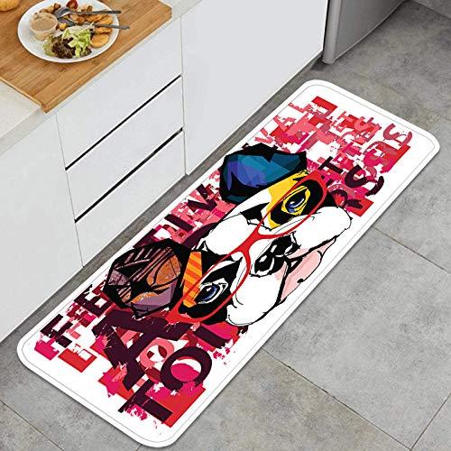 Throwpillow Alfombrilla de Cocina Antideslizante Retrato de Bulldog francés con Gafas de Sol Decoración Piso de Alfombra para baño, Sala de Estar, Oficina, fregadero-120cm x 45cm