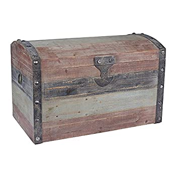 Household Essentials Stripped Weathered Wooden Storage Trunk Large