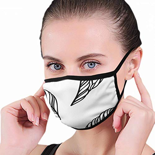 Blackandwhite Leaves Vintage Style Tea Nature Mask Half Face Mouth-Muffle Fashion Motorcycle...