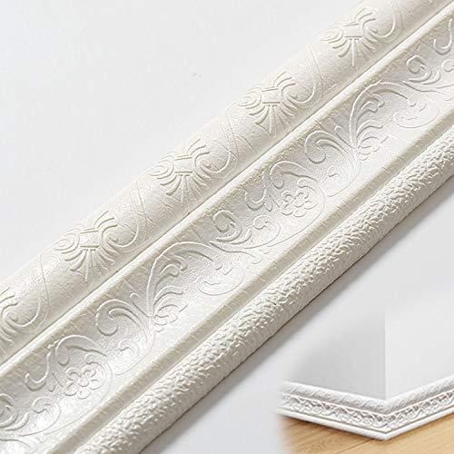 2.3M Rodapie Flexible Autoadhesivo,Molduras Decorativas Para Pared,Panel de pared decorativo impermeable 3D,Se puede utilizar para zócalos y líneas laterales en la pared del hogar u oficina