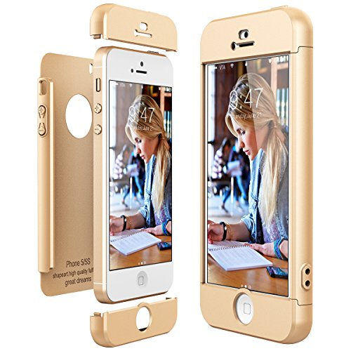 CE-Link Funda para Apple iPhone 5 5S Se Rigida 360 Grados Integral, Carcasa iPhone 5S Silicona Snap On Diseño Antigolpes Choque Absorción, iPhone Se Case Bumper 3 en 1 Estructura - Oro
