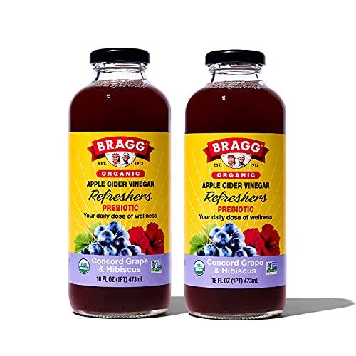 Bragg Organic Apple Cider Vinegar Beverage, Concord Hibiscus - 16oz, 2 Pack