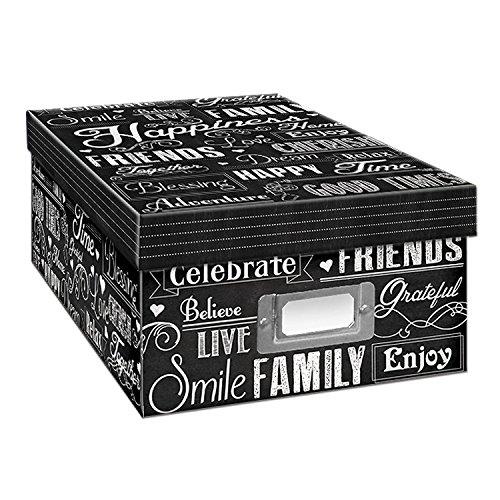 2PO Heavy-Duty Photo/Video Storage Box, Chalkboad Happiness Design