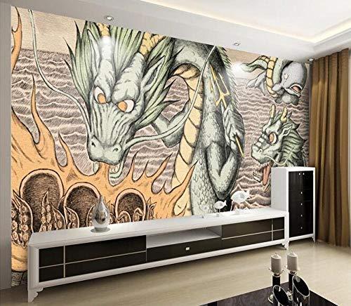 Tapete 3D Cartoon Mittelmeer Drache Drachen Grill Poster Kinderzimmer Cartoon Wandbild 350cmx256cm (137,8x100.8inch) PVC Tapete Wandverkleidung Tapete Vlies Stoff Wandaufkleber