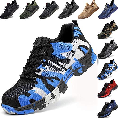 BAOLESEM Sicherheitsschuhe Herren Arbeitsschuhe Damen S3 Sportlich Leicht Atmungsaktiv Schutzschuhe Stahlkappe Schuhe, 04 Blau, 42 EU