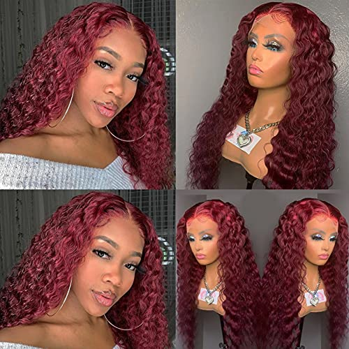 Lace Front Colored Human Hair Wigs 99j Burgundy Deep Wavy for Black Women 13x6x1 9A Brazilian Hair Curly Human Hair Lace Wig Pre Plucked Hairline with Baby Hair 150% Density 24 Inch