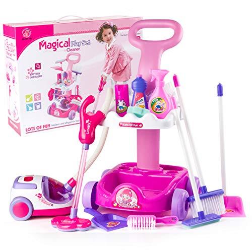 Best For Kids Putzwagen mit Staubsauger und viel Zubehör in pink/violett