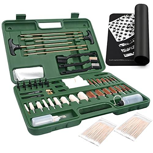 iunio Gun Cleaning Kit, Universal Gun Cleaning, All Caliber, with Mat and Carrying Case, for All Guns, Rifle, Shotgun, Handgun, Pistol, Hunting, Shooting Cleaning kit