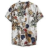 Luckycat Hombre de algodón Lino Camisa de Manga Corta Camisa Hawaiana Señores Manga Corta Bolsillo Delantero Impresión de Hawaii Playa Camisas Hombre Verano Camiseta Floral Estampado Tops